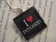 Petoskey, Michigan Glass Pendant Necklace with Silver Chain