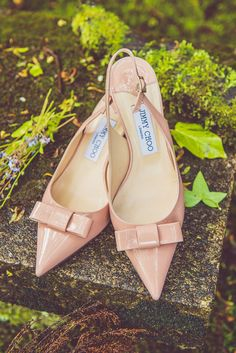 Pink Nude Jimmy Choo shoes | Whimsical Barn Wedding in Wales | Pink & Gold Colour Scheme | Rustic DIY Decor | Images by Nick Murray Photography | http://www.rockmywedding.co.uk/kristy-george/