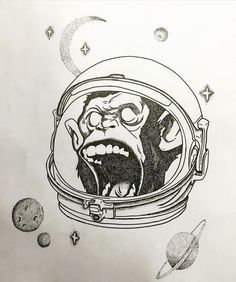 Fresh WTFDotworkTattoo Find Fresh from the Web When everyone leave you on Mars… Monkey In Space, Monkey Drawing, Astronaut Tattoo, Monkey Tattoos, Sketchbook Project, What To Draw, Doodle Designs, Dot Work Tattoo, Pen Art
