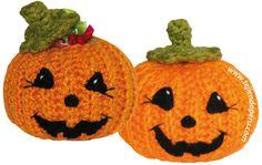 Calabaza de Halloween a crochet - Patrón Gratis en Español y con Videotutorial aquí: http://www.tejiendoperu.com/crochet/calabaza-de-halloween/