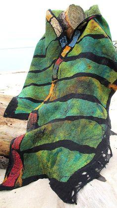 Extra large nuno felt wrap. Black merino wool, greens, blues, and multicolored silks.