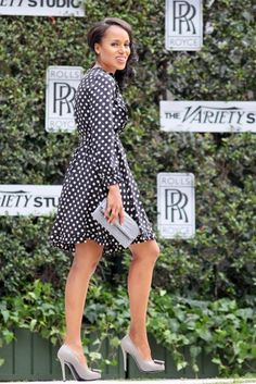 Scandalous this polka dot dress is not, but we love it just the same. It gives us somewhat of a vintage feel, while the slate grey accessories lend a modern twist. Here, Kerry Washington attends The Variety Studio: Awards Edition held at a private residence in Los Angeles.