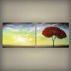 mid century abstract tree painting bird painting cloud by mattsart, $249.00