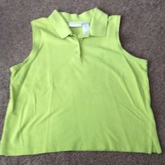Liz Claiborne knit top Large Collared , four button closure , sleeveless ,lime green Liz Claiborne Tops Tees - Short Sleeve