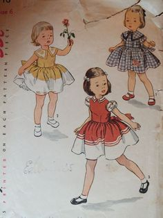 Amazing VTG 50s McCALLS 3648 Girls/Childs One-Piece Dress PATTERN 6/24B #Simplicity3648