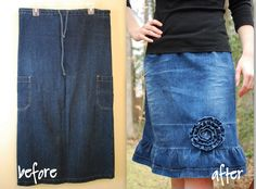 Flirty Denim Skirt Makeover with Craftaholics Anonymous - Somewhat Simple
