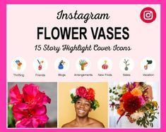 Flower-Vases-Instagram-Highlight-Covers Instagram Grid, Free Instagram, Instagram Tips, Instagram Story Template, Instagram Story Ideas, Social Media Icons, Social Media Graphics, Instagram Settings, Icon Photography