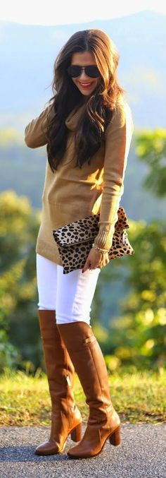 Daily New Fashion : Camel And White Casual Chic Outfit - The Sweetest Things