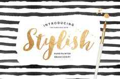 Stylish Brush with Bonus - Fonts , hand lettered, typography, brush font, script, graphic design, for photographers