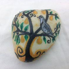 Bird in Tree Hand Painted Rock