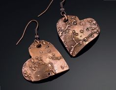 metal clay jewelry textured with metal clay paste - heart metal clay earrings by Sue Heaser - Metal Clay Jewelry Making: 5+ Metalsmithing Techniques You Can Apply to Metal Clay