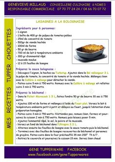 Lasagnes à la Bolognaise Tupperware Easy Home Cooked Meals, No Cook Meals, Tupperware Recipes, Entrees, Food And Drink, Cooking, Healthy, Desserts, Quiches