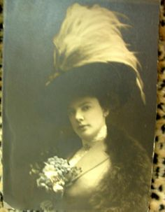Gibson Girl With Feathered Hat And Flowered Broach Photograph