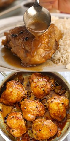 CHICKEN ADOBO - Chicken Adobo - the best and easiest recipe to make adobo, with tender and juicy chicken thighs. So easy and so good Chicken Adobo Recipe Easy, Healthy Chicken Recipes, Baked Chicken, Cooking Recipes, Indian Food Recipes, Asian Recipes, Filipino Recipes, Easy Dinner Recipes, Hardboiled