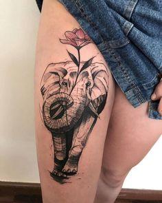 Mom Tattoos, Sexy Tattoos, Body Art Tattoos, Flower Tattoo Designs, Tattoo Designs For Women, Tattoos For Women, Tattoo Over Scar, Real Tattoo, Elephant Tattoo Design