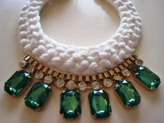 Handmade statement necklace with crystals, by GlowFashionJewellery