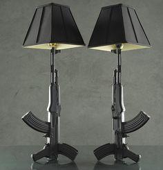 The Standing Lamp Lighting-For my father-in-law's man cave Lamp Light, Light Up, Gun Rooms, Decoration Originale, Guns And Ammo, Wabi Sabi, Man Cave, Door Handles, Ceramics