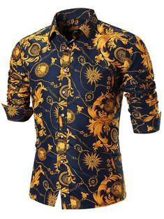 Gold Chain Men Style Turndown Collar Flower Chain Print Long Sleeve Men Shirt 4872 - Shirts Type: Casual Shirts Material: Cotton Blends Sleeve Length: Full Collar: Turn-down Collar Pattern Type: Floral Weight: kg Package Contents: 1 x Shirt Cool Shirts, Casual Shirts, Gold Chains For Men, Clothing Sites, Sharp Dressed Man, Mens Fashion, Fashion Outfits, Summer Shirts, Swagg