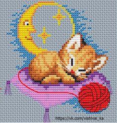 Noc, Śpiący Kotek i Czerwona Włoczka nr 32