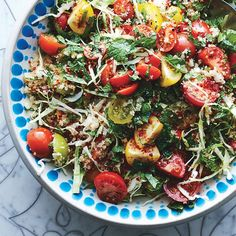 A proper tabbouleh will be mainly vegetables and herbs, with just a smattering of bulgur threaded through.