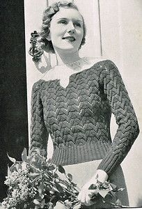 1930s vintage knitting pattern for pretty lacy lace stitch jumper