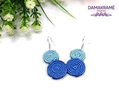 Csiga makramé fülbevaló – kék – DAMAKRAMÉ