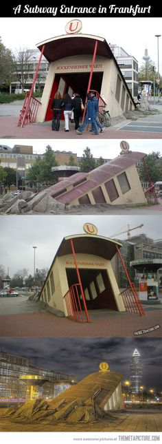 Very cool subway entrance. Looks like something you'll see at Disney or Universal.