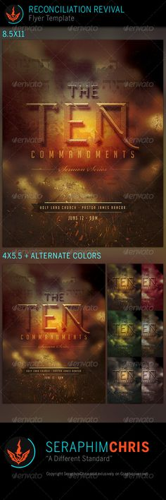 The 10 Commandments Series: Church Flyer Template is designed church events that need a clean modern look. This premium flyer design is constructed to give the highest dynamic quality when printed or posted to social media site and other formats. This file is exclusive to graphicriver.net
