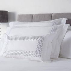 Honeycomb is a simple and striking modern embroidery on a crisp cotton percale. Featuring a triple row of embroidered interlocking hexagons in platinum on a cool white base. The duvet cover has a smart panel of the embroidery. The standard pillow Simple Embroidery, Modern Embroidery, Smart Panel, Boudoir, Cushions Online, Standard Textile, Cushion Pads, Indoor Air Quality, Honeycomb