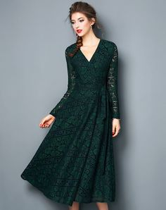 #VIPme Green V-neck Belted Midi Swing Lace Dress ❤ Get more outfit ideas and style inspiration from fashion designers at VIPme.com.