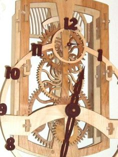 Clock with wooden gears