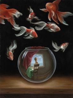 Surrealism Art by surrealist artist charnine - similar to dali, magritte Fantasy Kunst, Fantasy Art, Illustration Art, Illustrations, Rene Magritte, Surrealism Painting, Fish Art, French Artists, Unique Art