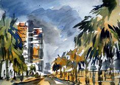 Watercolor at dusk in Maritim walk. Sea Walk, Urban Sketchers, Dusk, Barcelona, Abstract, Night, Drawings, Artwork, Painting