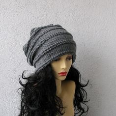 Hand Knit Slouchy Hipster Beanie Baggy Tam Hat by AlbadoFashion
