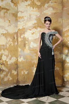 A-line Off-the-shoulder Satin Chiffon Crystal Evening Dress