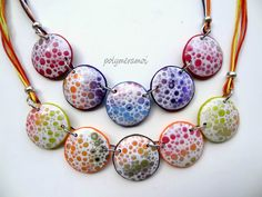 """2014-Polymer Clay """"Speckles"""" necklace. .."""
