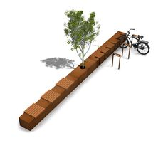 Benk og sykkelparkering Public bench with integrated cycle stand CORTEN SEAT… City Furniture, Bench Furniture, Urban Furniture, Street Furniture, Furniture Design, Concrete Furniture, Luxury Furniture, Urban Landscape, Landscape Design