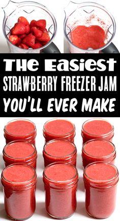 Easy Freezer Jam Recipe, Freezer Cooking, Freezer Meals, No Cook Meals, Strawberry Freezer Jam, Strawberry Recipes, Strawberry Jam, Jelly Recipes, Fruit Recipes