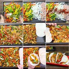 Sheet Pan Chicken Fajitas - this graphic shows all the key steps to easily make chicken fajitas in the oven using a sheet pan