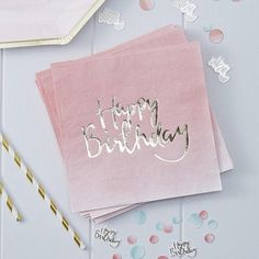 These pretty paper napkins have the message 'Happy Birthday' printed in beautiful gold foil on a pale pink ombre background. They'll look really elegant at a birthday party and will help to keep messy crumbs and spills at bay. Pack of 20. Each measures 33cm x 33cm Click the link