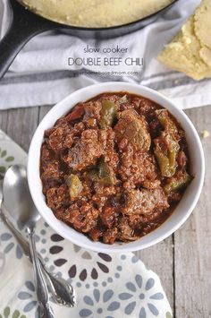 Slow Cooker Double Beef Chili is a sure way to fill them up and warm them up!