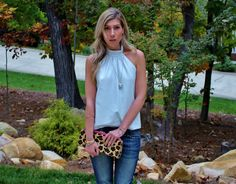 White Leather Halter Top-Skinny Boyfriend Jeans-Leopard Clutch-Jami Druzy Pendant-Schutz Peep Toe Spike Heels
