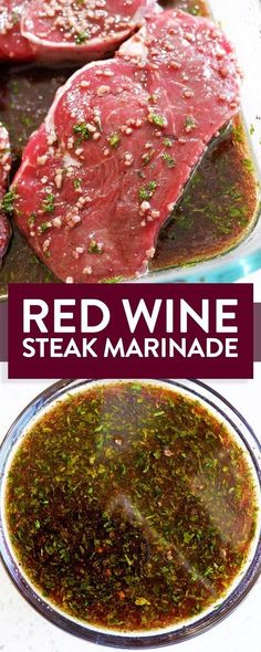 Easy and simple red wine steak marinade with soy sauce, garlic, sesame oil. This… Easy and simple red wine steak marinade with soy sauce, garlic, sesame oil. This gluten free marinade recipe is easy and perfect for grilling steak on the BBQ. Steak Marinade Recipes, Meat Marinade, Grilled Steak Recipes, Grilling Recipes, Cooking Recipes, Grilled Steaks, Marinades For Steak, Steak Marinade Red Wine, Simple Steak Marinade