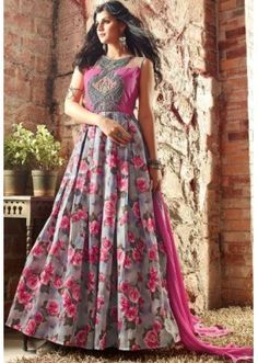 Party Wear Grey & Pink Banarasi Silk Anarkali Suit - 3402