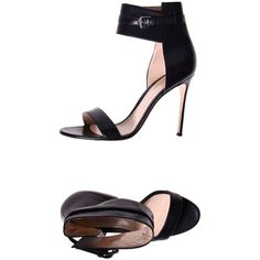 Gianvito Rossi Sandals ($349) ❤ liked on Polyvore featuring shoes, sandals, black, heels stilettos, buckle shoes, kohl shoes, black sandals and round toe shoes