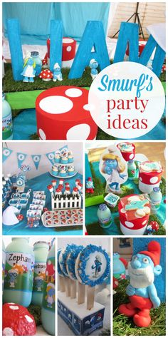 A Smurf themed boy's first birthday party with Smurf hats and lots of mushrooms! See more party ideas at CatchMyParty.com!