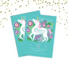 Unicorn Invitation Printable Customized DIY by crazyfoxpaper