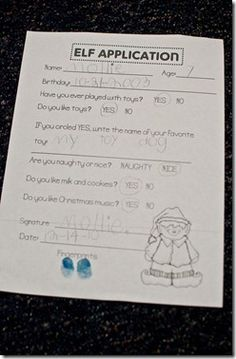 Christmas: Read How Santa Got His Job by Stephen Krensky & fill our Elf Application