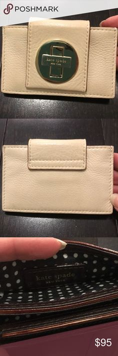 "Kate Spade ID/Credit Card Wallet Kate Spade cream leather with gold accent credit card / ID wallet. 4.5""w x 3""h. Little wear on the gold kate spade emblem. Clean on the inside and outside. Great condition. kate spade Accessories Key & Card Holders"