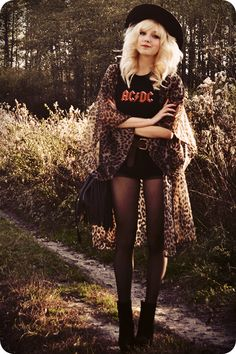 Love this AC/DC shirt and leopard kimono                                                                                                                                                      More